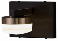Justice Design FSN-8991-OPAL-MBBR Fusion Puck Contemporary Matte Black w/ Brass Accents LED Wall Sconce