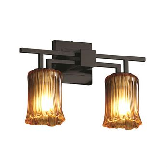 Justice Design GLA-8702 Veneto Luce Aero Contemporary 2-Light Bathroom Vanity Lighting