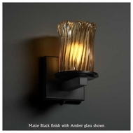 Justice Design GLA-8771-16 Dakota 1-Light Wall Sconce with Cylinder Rippled Rim Glass