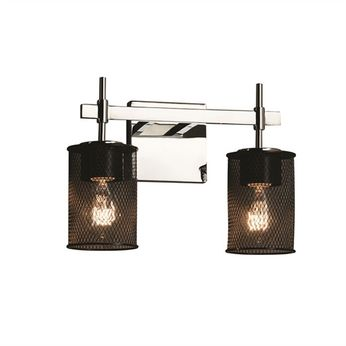 Justice Design MSH-8412 Wire Mesh Union Contemporary 2-Light Bath Wall Sconce