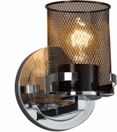 Justice Design MSH-8451-10-CROM Wire Mesh Atlas Modern Polished Chrome Wall Light Sconce