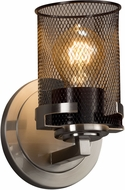 Justice Design MSH-8451-10-NCKL Wire Mesh Atlas Contemporary Brushed Nickel Wall Lamp