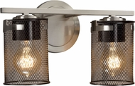 Justice Design MSH-8452-10-NCKL Wire Mesh Atlas Contemporary Brushed Nickel 2-Light Bathroom Sconce