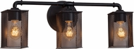 Justice Design MSH-8463 Wire Mesh Bronx Contemporary 3-Light Bathroom Wall Sconce