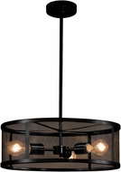 Justice Design MSH-9551-MBLK Wire Mesh Wire Mesh Contemporary Matte Black 18  Drum Hanging Lamp