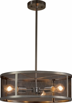 Justice Design MSH-9551-NCKL Wire Mesh Wire Mesh Modern Brushed Nickel 18  Drum Hanging Light