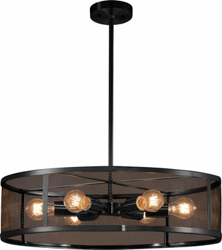 Justice Design MSH-9552-MBLK Wire Mesh Wire Mesh Modern Matte Black 24  Drum Pendant Lighting Fixture