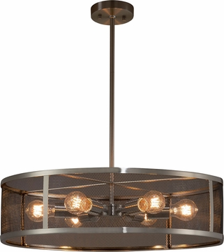 Justice Design MSH-9552-NCKL Wire Mesh Wire Mesh Contemporary Brushed Nickel 24 Drum Hanging Pendant Lighting