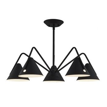 Justice Design NSH-4245-MBTX No Shade Material Zag Contemporary Matte Black - Textured LED Lighting Chandelier