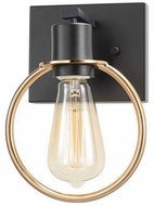 Justice Design NSH-8901-MBBR No Shade Material Volta Contemporary Matte Black w/ Brass Ring LED Wall Light Sconce