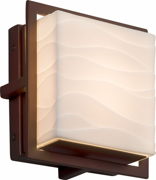 Justice Design PNA-7561W-WAVE-DBRZ Porcelina Avalon Modern Dark Bronze LED Exterior Square Wall Light Fixture