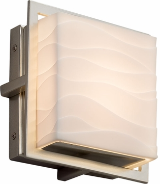Justice Design PNA-7561W-WAVE-NCKL Porcelina Avalon Modern Brushed Nickel LED Exterior Square Wall Lighting Sconce