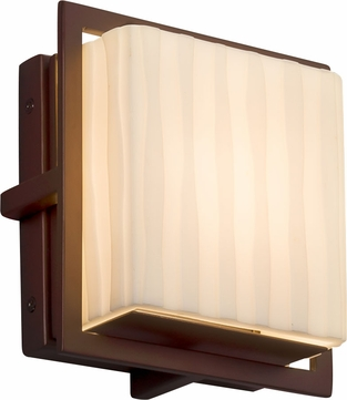 Justice Design PNA-7561W-WFAL-DBRZ Porcelina Avalon Contemporary Dark Bronze LED Outdoor Square Wall Sconce Lighting
