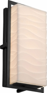 Justice Design PNA-7562W-WAVE-MBLK Porcelina Avalon Contemporary Matte Black LED Outdoor Small Wall Light Sconce