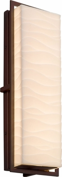 Justice Design PNA-7564W-WAVE-DBRZ Porcelina Avalon Contemporary Dark Bronze LED Outdoor Large Lamp Sconce
