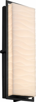 Justice Design PNA-7564W-WAVE-MBLK Porcelina Avalon Modern Matte Black LED Exterior Large Wall Sconce Lighting