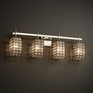 Justice Design WGL-8414 Union Wire Glass Contemporary 4-Light Bathroom Lighting Fixture