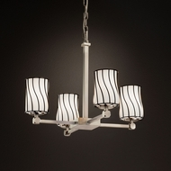Justice Design WGL-8420 Tetra Wire Glass Contemporary Mini Chandelier Light