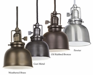 JVI Designs 1200-M2 Union Square Mini 5 Inch Diameter Metal Shade Vintage Pendant Light
