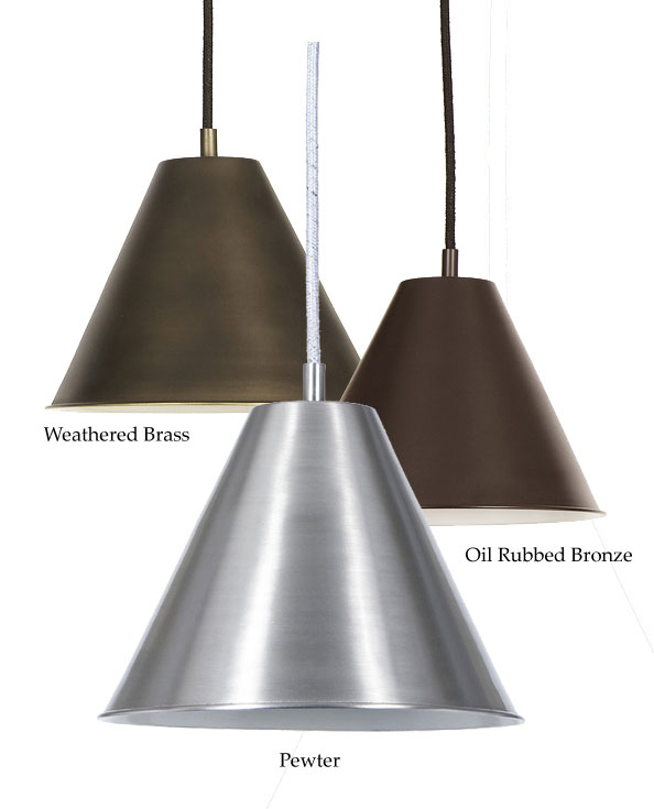 Large Metal Lamp Shade: JVI Designs 1205 7 Inch Diameter Cone Metal Shade Pendant