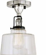 JVI Designs 1222-15-S14 Nob Hill Polished Nickel and Black Overhead Light Fixture