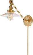 JVI Designs 1255-10-S1 Soho Ashbury Contemporary Satin Brass Wall Swing Arm Lamp