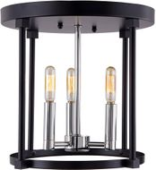 JVI Designs 3064-15 Roxhill Polished Nickel and Black Ceiling Light