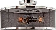 JVI Designs 3071-15 Wellington Contemporary Polished Nickel and Black Ceiling Light Fixture