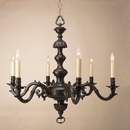 JVI Designs 936-22 Rust Finish Antique Style 29 Inch Diameter 6 Candle Chandelier