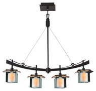 Kalco 2986 Nijo Tawny Port 32 Inch Wide Asian Kitchen Island Lighting Fixture
