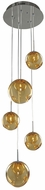 Kalco 309541CH-AMBER Meteor Contemporary Chrome Halogen Multi Hanging Lamp