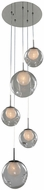 Kalco 309541CH-CLEAR Meteor Contemporary Chrome Halogen Multi Pendant Light Fixture