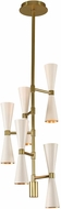 Kalco 310472WVB Milo Contemporary White and Vintage Brass LED Mini Hanging Chandelier