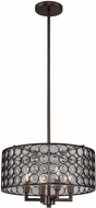 Kalco 311940NBS Juli Contemporary Natural Burnt Stainless Steel Drum Pendant Lighting