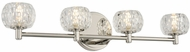 Kalco 312834PN Ella Modern Polished Nickel LED 4-Light Bath Wall Sconce