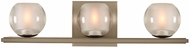 Kalco 315033SN Corona Modern Satin Nickel LED 3-Light Bathroom Vanity Light Fixture