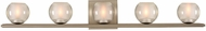 Kalco 315035SN Corona Modern Satin Nickel LED 5-Light Bathroom Lighting Sconce