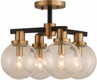 Kalco 315440BBB Cameo Contemporary Matte Black Finish with Brushed Pearlized Brass Ceiling Lighting