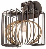 Kalco 502420BZG Metro III Contemporary Antique Bronze w/Antique Gold Accents Wall Sconce Lighting