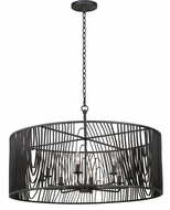 Kalco 507552BI Morre Contemporary Black Iron 36  Drum Hanging Lamp
