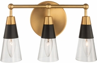 Kalco 513133BNB Ponti Matte Black with New Brass 3-Light Lighting For Bathroom