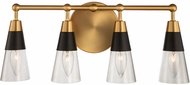 Kalco 513134BNB Ponti Matte Black with New Brass 4-Light Bath Lighting