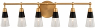 Kalco 513136BNB Ponti Modern Matte Black and New Brass 6-Light Vanity Lighting