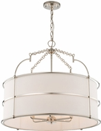 Kalco 513255PN Carson Contemporary Polished Nickel Drum Pendant Hanging Light