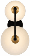 Kalco 513622BWB Redding Contemporary Matte Black w/ White and Brass Accent LED 2-Light Bathroom Wall Light Fixture