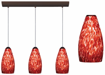 Karli Multi-Pendant Light with Garnet Cloud Glass