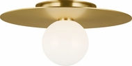 Kelly by Kelly Wearstler KF1011BBS Nodes Contemporary Burnished Brass Halogen 14  Flush Mount Lighting Fixture