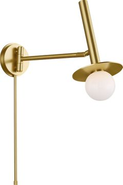 Kelly by Kelly Wearstler KW1021BBS Nodes Contemporary Burnished Brass Wall Swing Arm Lamp