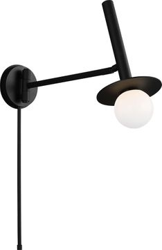 Kelly by Kelly Wearstler KW1021MBK Nodes Contemporary Midnight Black Halogen Wall Swing Arm Lamp