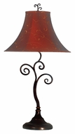 Kenroy Home 31380BRZ Richardson 30 Inch Tall Table Light With Red/Gold Bell Shade